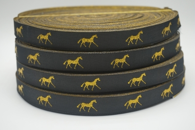 horse ribbon Navy/gold