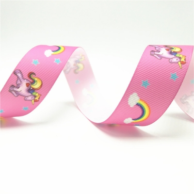 Printed grosgrain ribbon Unicorn
